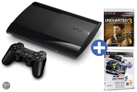 Sony PlayStation 3 Console 500GB Super Slim + 1 Wireless Dualshock 3 Controller + Gran Tursimo 5 - Academy Editon + Uncharted 3: Drake's Deception - Game Of The Year Edition - Zwart PS3 Bundel