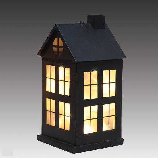 Luca lighting metalen huisje met 8 warm witte led lampjes op batterijen zwart - Huisje met vide ...