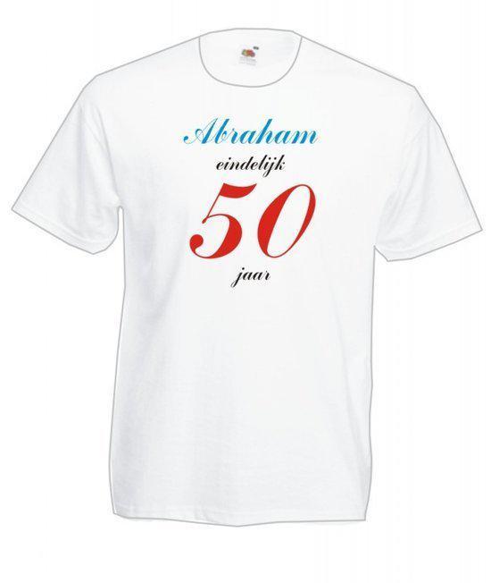 Mijncadeautje Heren leeftijd T-shirt wit maat M Abraham eindelijk 50 jaar in Velserbroek