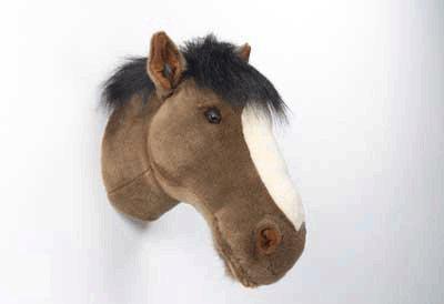 Pluche paarden hoofd donkerbruin - Decoratie kind ...