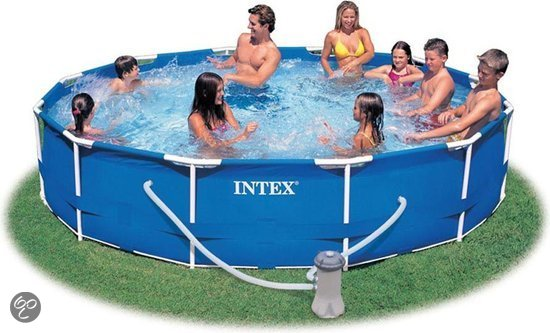 Intex frame zwembad 366 cm inclusief 12v for Filterpomp zwembad intex