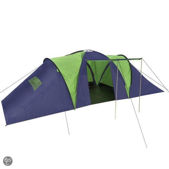vidaXL - Kampeertent 9 - Visavis tent - 9-Persoons - Blauw;Groen in Tollebeek