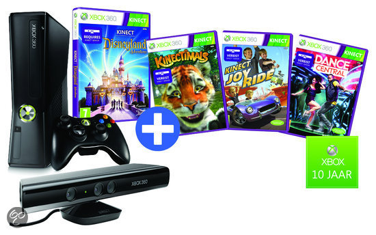 Xbox 360 4GB + Kinect Sensor + Draadloze Controller + Disneyland + 3 Gratis Kinect Games