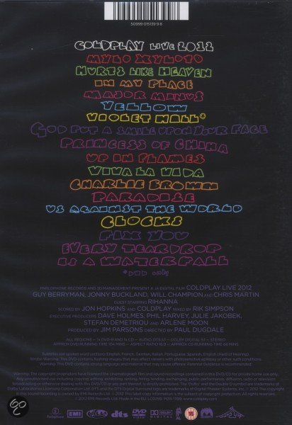 Bol Com Coldplay Live 2012 Dvd Cd Coldplay Muziek