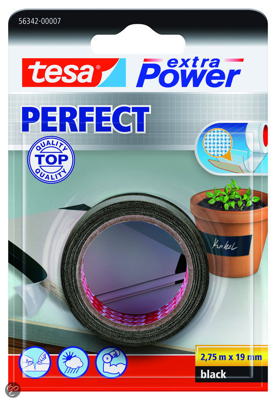 tesa extra power perfect textieltape zwart 2 75 m x 19 mm klussen. Black Bedroom Furniture Sets. Home Design Ideas