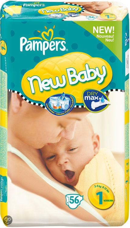 Pampers New Baby - Luiers Maat 1 met urine indicator - Voordeelpak 56st