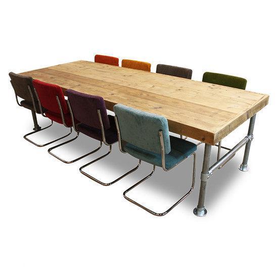 Van abbev set tafel en stoelen eettafel steigerhout en steigerbuis inclusief 10 retro - Smeedijzeren stoel en houten ...
