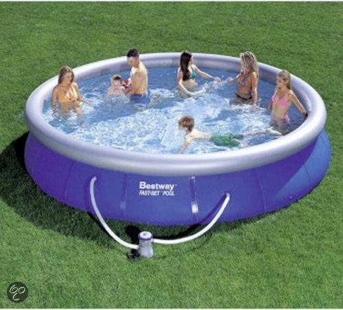 Bestway zwembad fast 457x91cm met pomp speelgoed for Zwembad rechthoekig met pomp