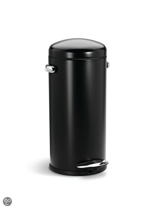 Simplehuman Round Retro - Pedaalemmer 30 l - Zwart