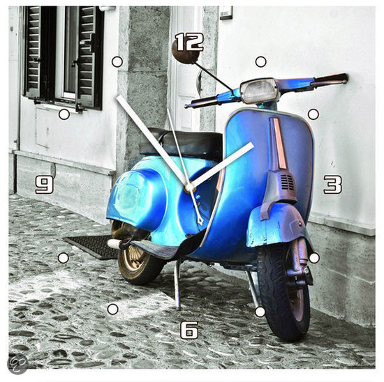 DSM scooter Klok Vierkant MDF 30×30 cm blauw