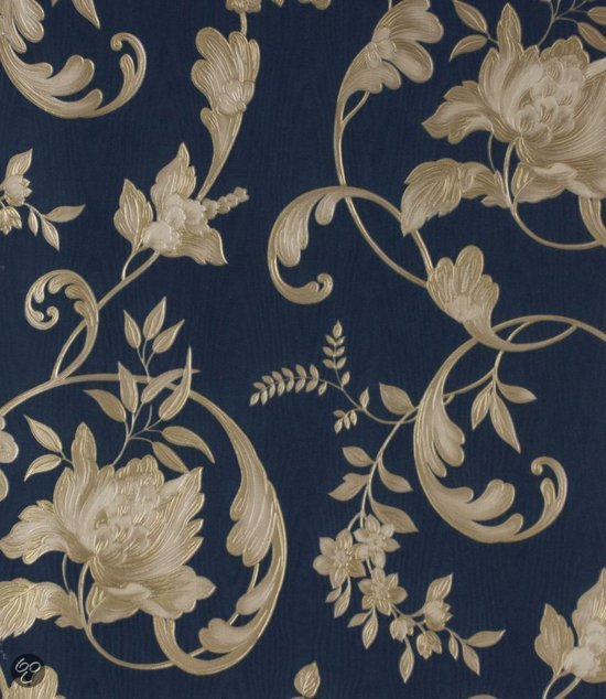 Dutch wallcoverings bloem blauw goud - Behang zwart en goud ...