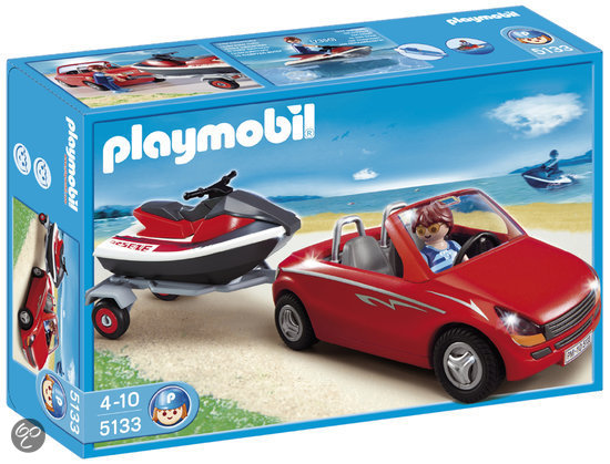 playmobil cabrio met aanhangwagen en jetski 5133 playmobil. Black Bedroom Furniture Sets. Home Design Ideas