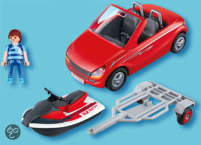 playmobil cabrio met aanhangwagen en jetski 5133 playmobil speelgoed. Black Bedroom Furniture Sets. Home Design Ideas