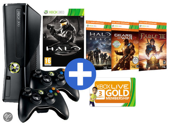 Microsoft Xbox 360 250GB + 2 controllers + 4 games + Xbox Live Gold: 3 maanden