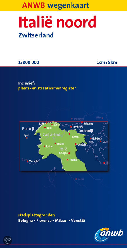 Wegenkaart Italië noord en Zwitserland