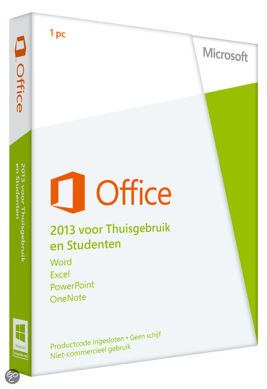 Microsoft Office Home and Student 2013 - 32-bit/x64 / Engels / 1 Licentie / Eurozone Medialess