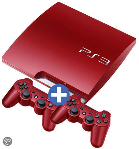 Sony PlayStation 3 Slim 320GB + 2 Dual Shock Controllers Rood - Limited Edition