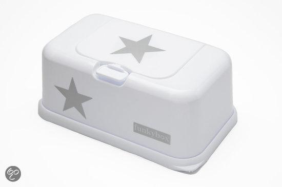 Funkybox - Billendoekjes Doosje - Wit Met Zilveren Ster