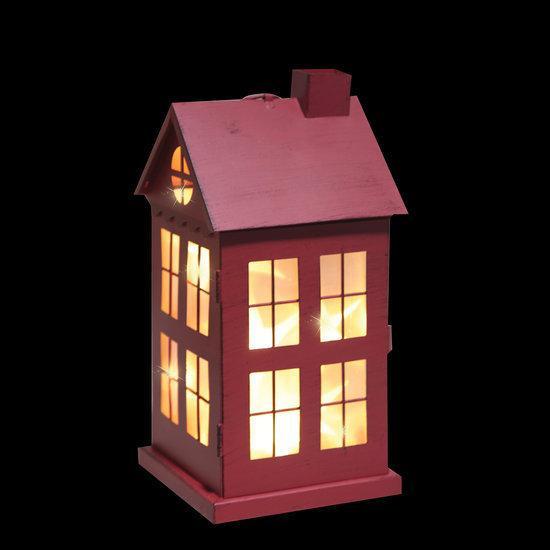 Luca lighting metalen huisje met 8 warm witte led lampjes op batterijen rood - Huisje met vide ...