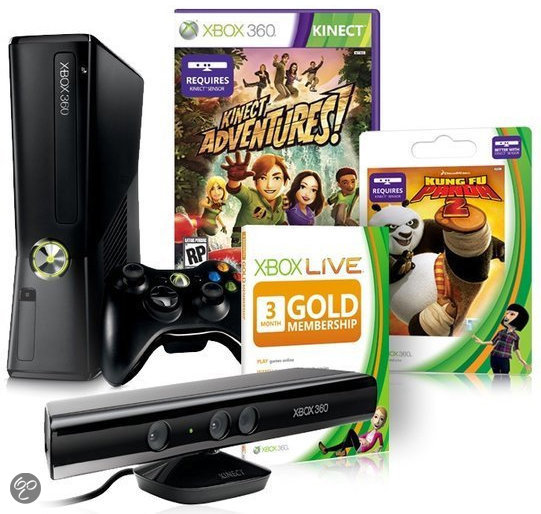 Xbox 360 250GB + Kinect Sensor + Draadloze Controller + Kinect Adventures + Kung Fu Panda 2 + Xbox Live Gold - 3 maanden