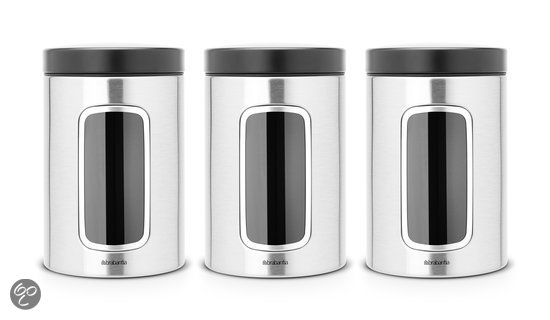 Brabantia Vensterbussenset 3-delig - Matt Steel Fingerprint Proof
