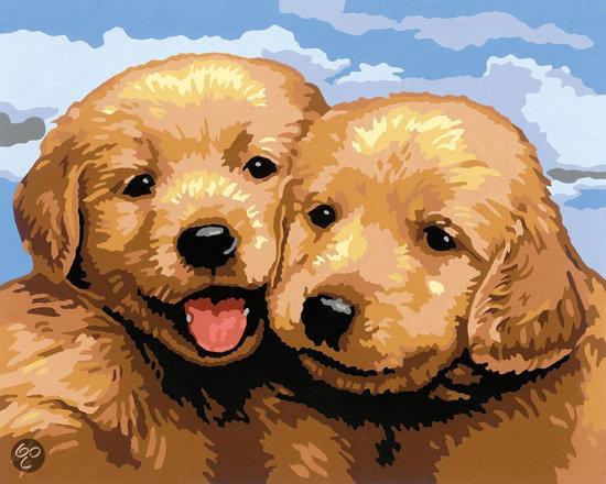 Bol Com Schilderen Op Nummer Schattige Puppies Ravensburger