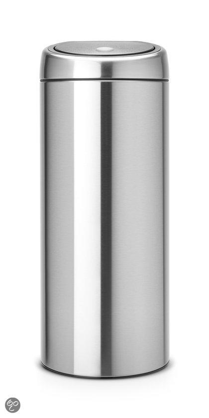Brabantia Touch Bin Afvalemmer met kunststof binnenemmer - Rond - 30 l - Matt Steel