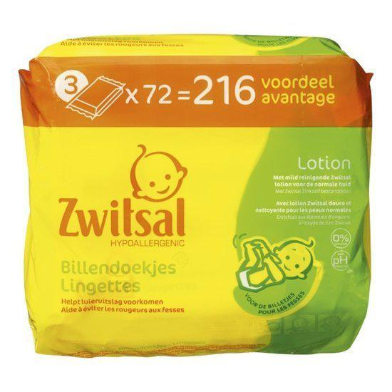 Zwitsal - Billendoekjes Lotion 3x72 stuks