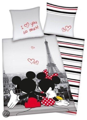 bol com   Disney Mickey  u0026 Minnie Mouse Paris   Dekbedovertrek   Eenpersoons   140×200