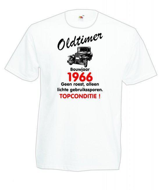 Mijncadeautje heren leeftijd T-shirt wit maat L - Oldtimer Bouwjaar (geboortejaar) 1966 in Macharen