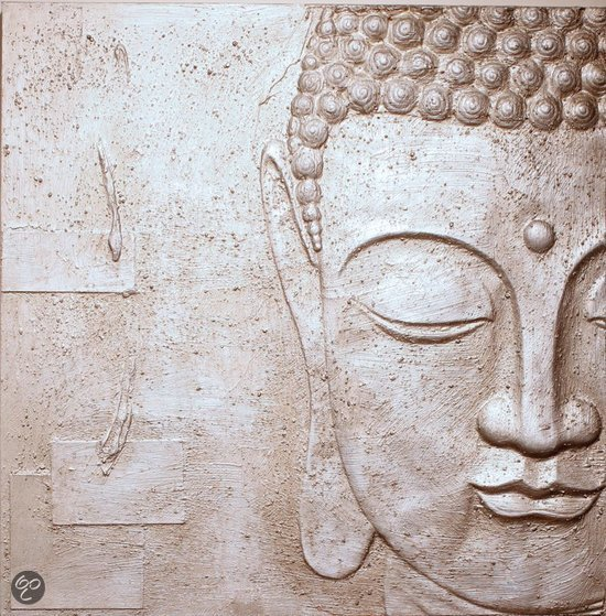 bolcom arthouse canvas silver buddha zilver 60x60 cm
