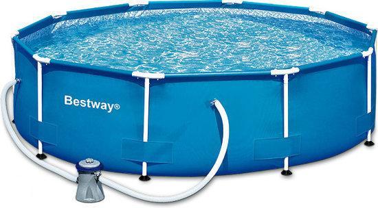 Bestway steel pro frame zwembad 305 x 76 cm for Zwembad rechthoekig met pomp