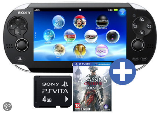 Sony PlayStation Vita Wifi + Assassin's Creed 3 Voucher + 4 GB Memory Card Zwart