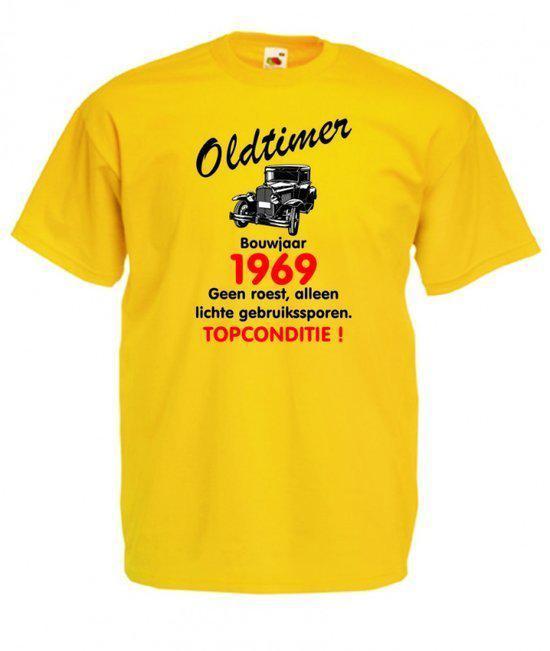 Mijncadeautje heren leeftijd T-shirt geel maat XXL - Oldtimer Bouwjaar (geboortejaar) 1969 in Oosterens