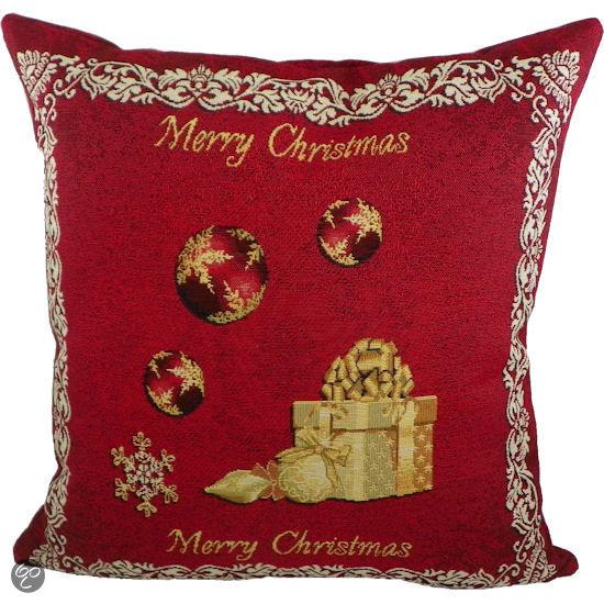 mars more gobelin merry christmas sierkussen 50x50 cm rood. Black Bedroom Furniture Sets. Home Design Ideas