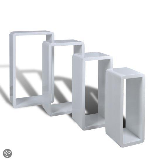 Vidaxl kubus boekenplank wit mdf set van 4 wonen for Kubusgordijnen