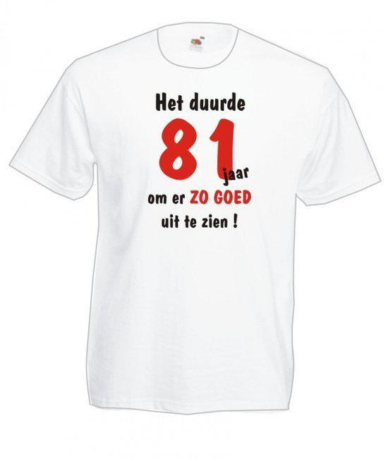 Mijncadeautje Heren leeftijd T-shirt Wit maat M Het duurde 81 jaar om er zo goed uit te zien in Ramegnies-Chin