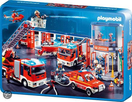 Schmidt Puzzel: Playmobil  Brandweer(Tin Box)