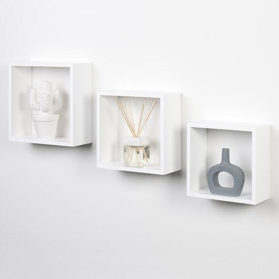 Duraline Kubussen - Wandelement - Wit - Spaanplaat - Set van 3