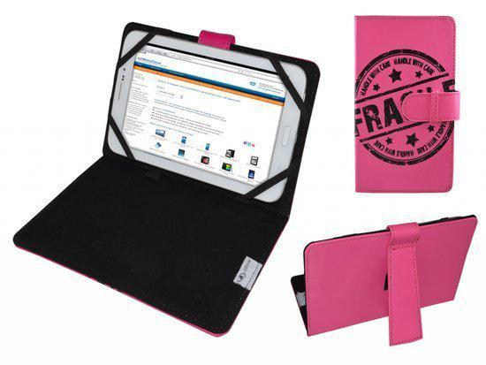 Galaxy Tab 4 10.1, Cover met Fragile Print, Hot Pink, merk i12Cover