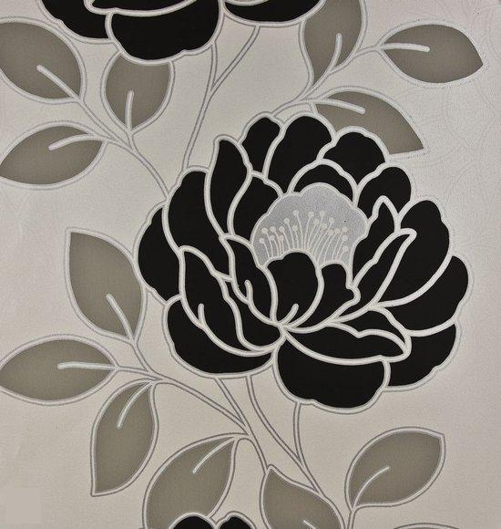 Dutch wallcoverings papierbehang bloem wit zwart zilver - Wit behang en grijs ...