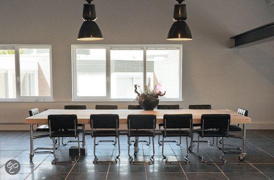 van abbev set tafel en stoelen set steigerbuis vergadertafel met 12 buisframe vergader. Black Bedroom Furniture Sets. Home Design Ideas