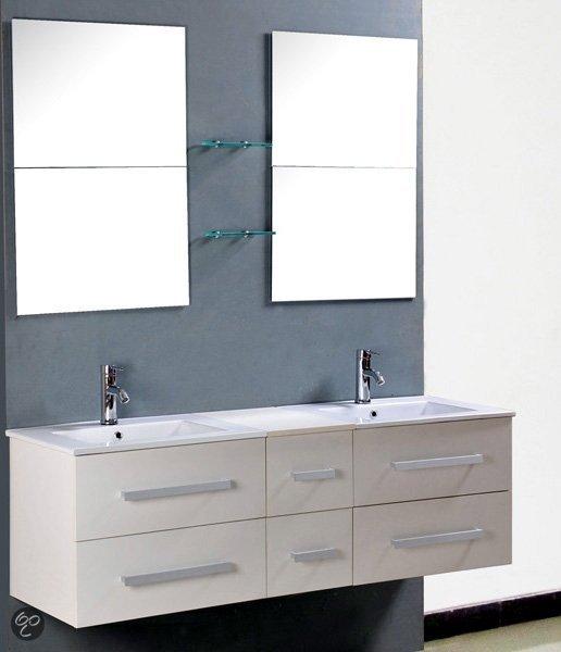 Vidaxl badkamermeubel flexibele badmeubelset met dubbele wastafel kraan en spiegels wi for Moderne toiletartikelen