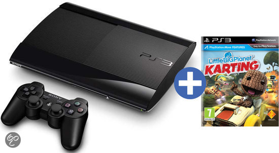 Sony PlayStation 3 Console 12GB Super Slim + 1 Wireless Dualshock 3 Controller + Little Big Planet Karting - Zwart PS3 Bundel