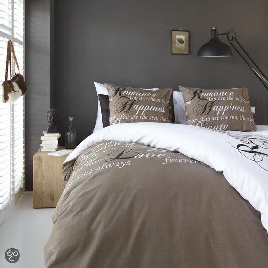 bol.com : Beddinghouse Happiness Dekbedovertrek - Taupe - Lits-jumeaux ...