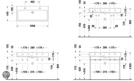 Wasbak Keuken Keramiek : Duravit Vero Dubbele Wastafel – 100 x 47 cm – Keramiek – Wit Klussen