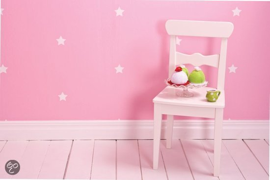... com  Dutch Wallcoverings Kinderbehang - Sterren - Roze/wit  Klussen