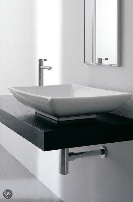 Erkalinea ganges wastafel rechthoekig 63 x 46 cm keramiek wit - Wastafel rechthoekig badkamer ...