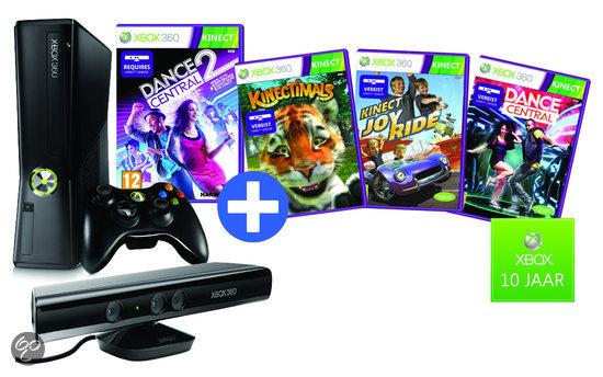 Microsoft Xbox 360 4GB + Kinect Sensor+ Draadloze Controller + Dance Central 2 + 3 Gratis Kinect Games