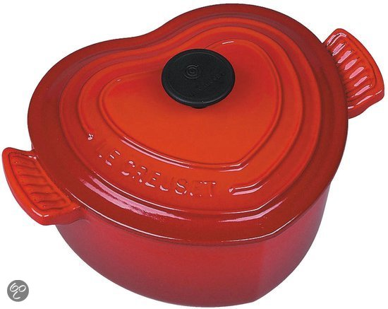 Le Creuset- 2 persoons Braad/Stoofpan - hartvormig -  18 -  rood